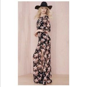 For Love And Lemons Floral Open Back Maxi Dress